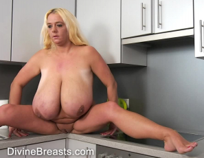 Naked boob squeeze